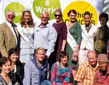 2014: Mrs SA, Sarah-Kate Scott; Mrs SA CEO, Joani Johnson; CANSA Mrs SA Charity,Talitha Jansen v Vuuren & 1st Princess, Riana Mooi, visiting CANSA Staff.