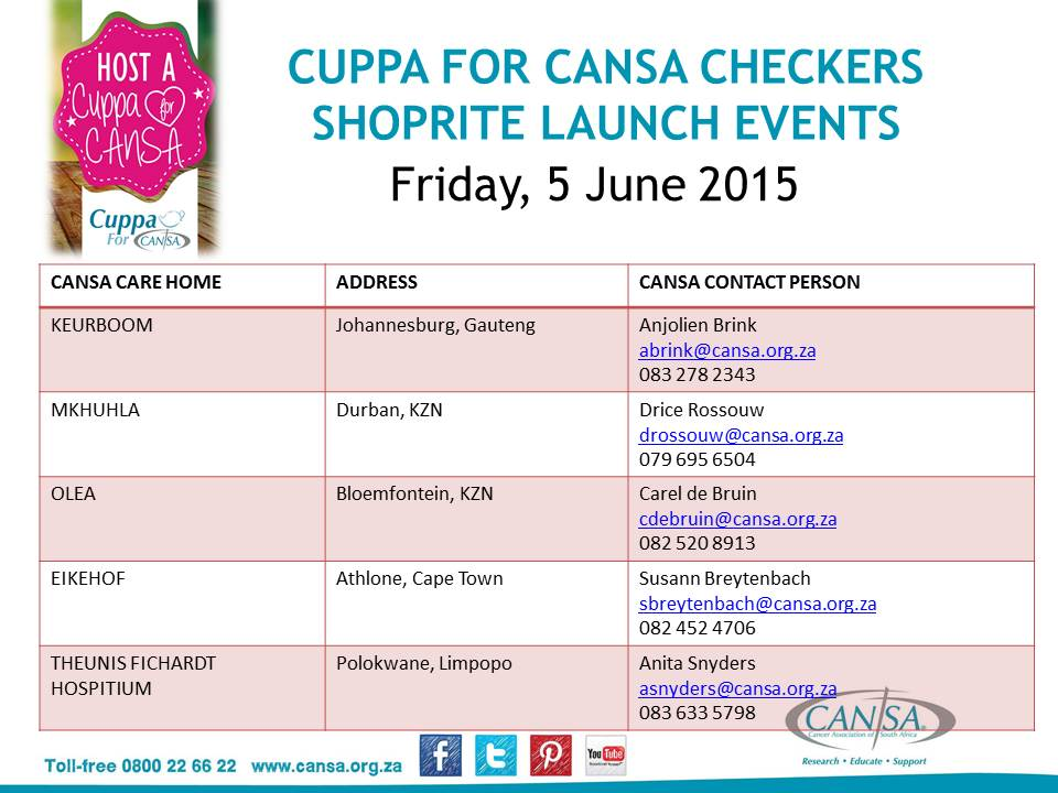 CuppaForCANSA Launch events 5June2015